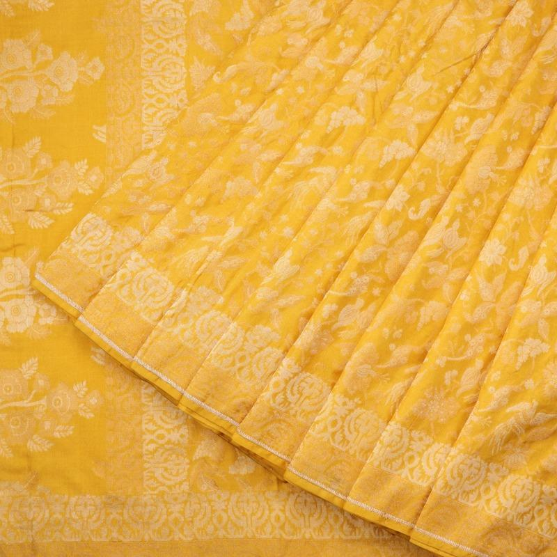 Handwoven Canary Yellow Banarasi Silk Sari-WIIGS051-Cover View