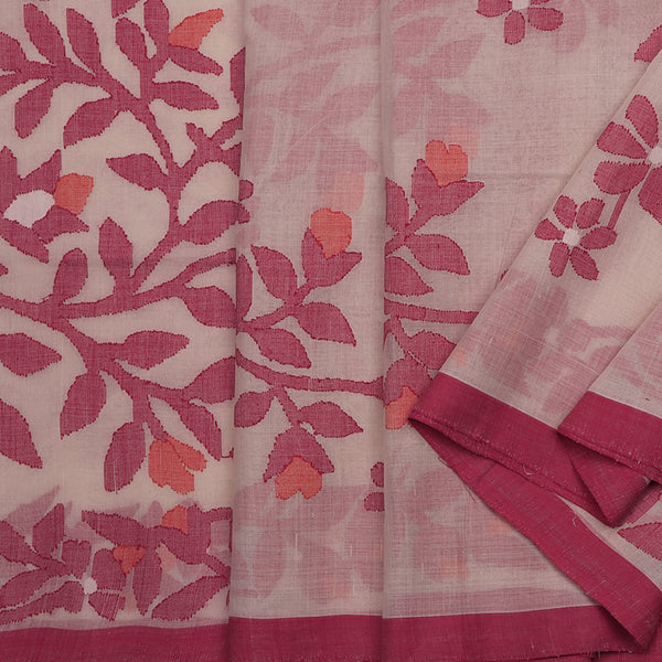 Handwoven Jamdani Ecru Cotton Sari - WIIARIDNAM058 - Cover View