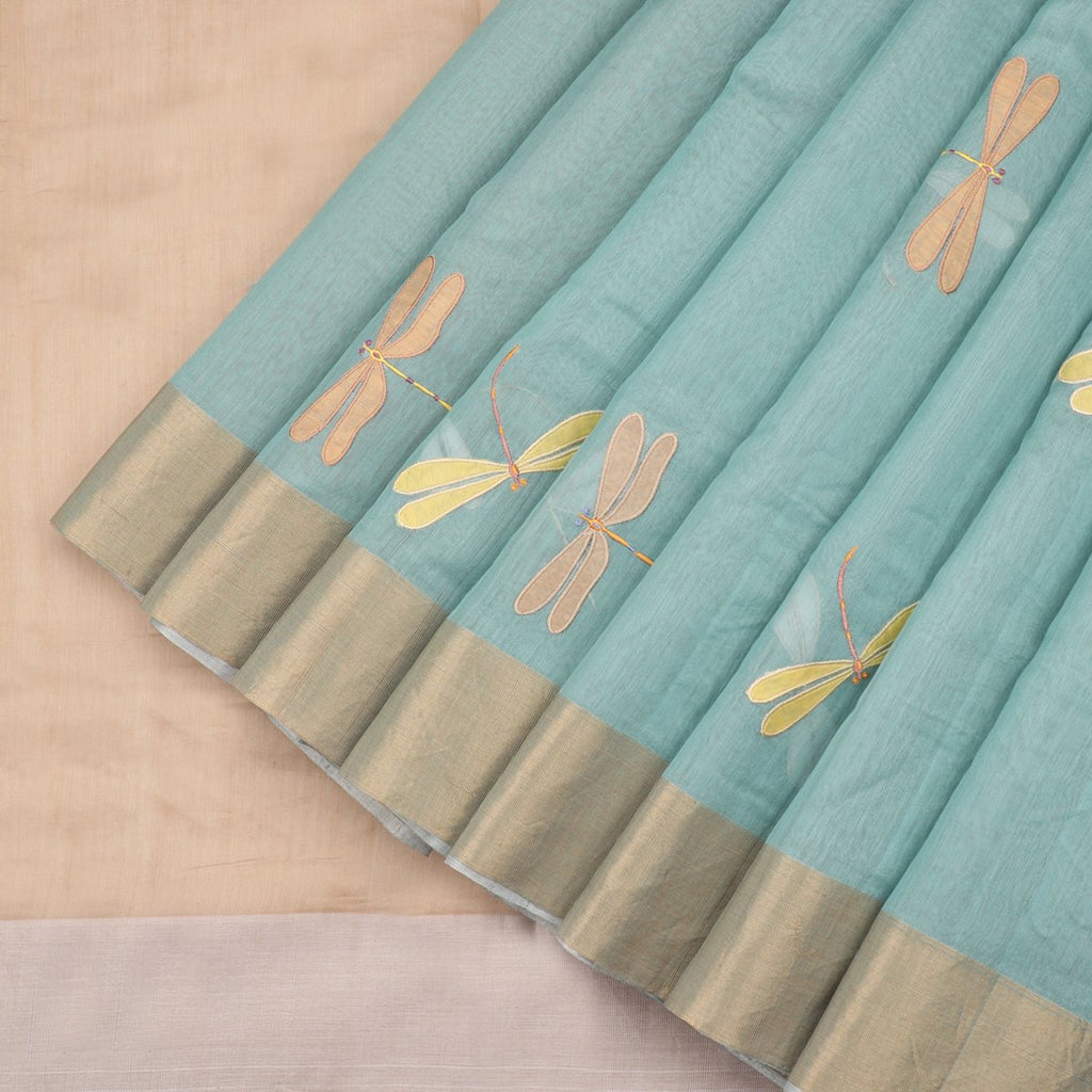 HANDWOVEN TEAL GREEN CHANDERI SILK SARI-WIIAPRICWDS02- Cover View
