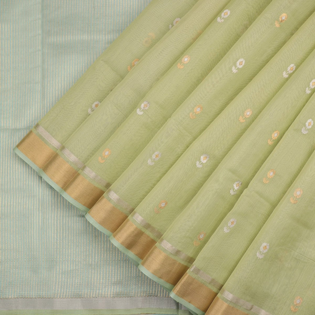 HANDWOVEN PISTA GREEN CHANDERI SILK EK NALIYA BUTTI SARI-WIIAPRICEBS 01-Cover View
