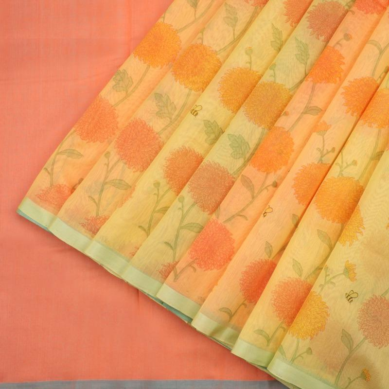 HANDWOVEN MANGO YELLOW CHANDERI COTTON SARI-WIIAPRICPSR04- Cover View