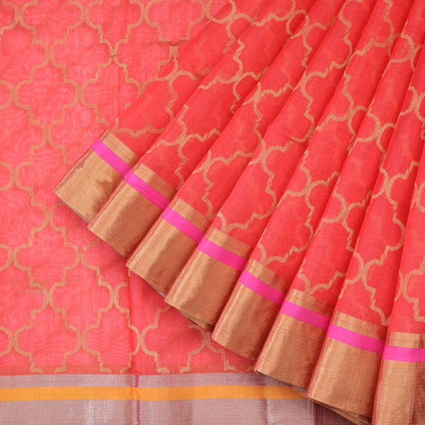 Handwoven Coral Pink Silk Cotton Chanderi Sari - WIIAPRI CFJS(4) - Cover View