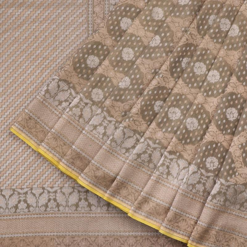 Handwoven Sand Banaras Muslin Cotton Sari-WIIGS046 - Cover View