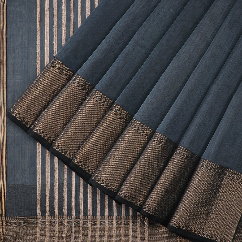 Handwoven Charcoal Grey Maheshwari Cotton Silk Sari-WIIGS037 - Cover View