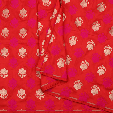 Handwoven Chilli Red Banarasi Silk Unstitched Fabric - WIIRJ0090 - Cover View