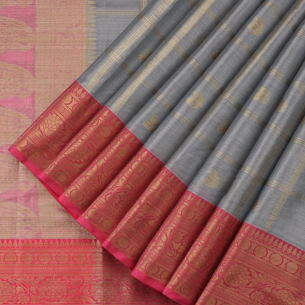 Handwoven Graphite Grey Silk Cotton Chanderi Sari - WIISHNIKARIDNAM0100-2 - Cover View