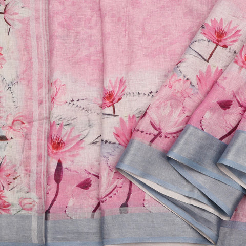 Handwoven Baby Pink WaterLilly Print Linen Sari - WIIATY015 - Cover View