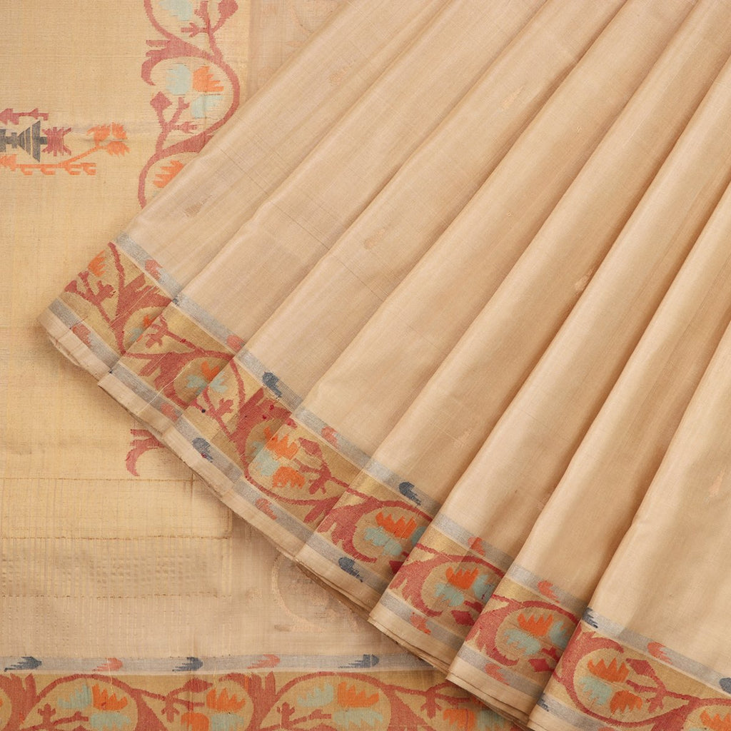 Handwoven Beige Uppada Silk Sari With Ashavali Border-WIIGS044- Cover View