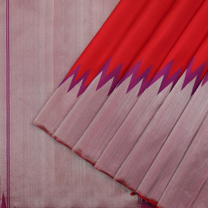 Red and Purple pure kanjivaram silk saree - WeaveinIndia