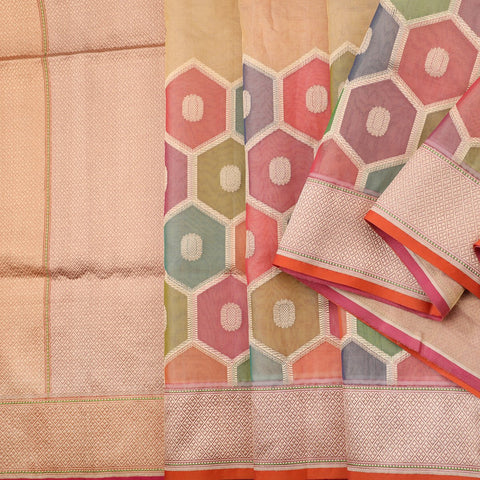 Handwoven Multicoloured Banarasi Kora Silk Sari - WIISDT664 31 - Cover View