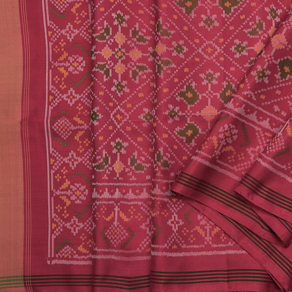 Handwoven Crimson Single Ikat Patola Silk Sari - WIIPATANARIDNAM820718 - Cover View