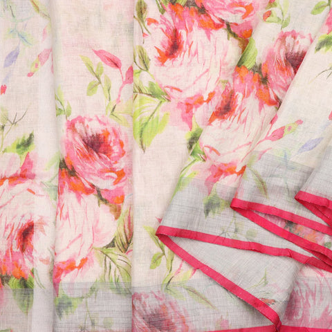 Handwoven Off White Rose Printed Linen Sari  - WIIATY017 - Cover View