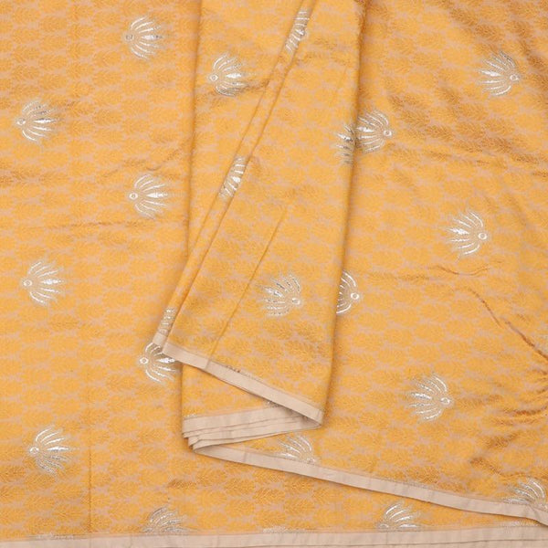 Handwoven Golden Yellow Banarasi Silk Unstitched Fabric - WIIRJ11276050 - Cover View