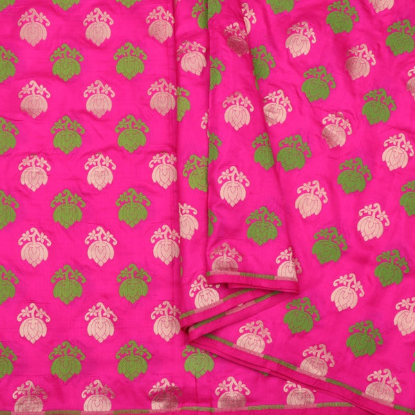 Handwoven Rani Pink Banarasi Silk Unstitched Fabric - WIIRJ0091 - Cover View