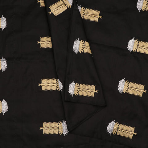 Handwoven Black Gold Silver Banarasi Silk Unstitched Fabric - WIIAM596 002G - Cover View