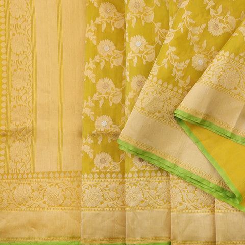 Handwoven Lime Green Kora Silk Banarasi Sari - WIIEDT2835 008 - Cover View