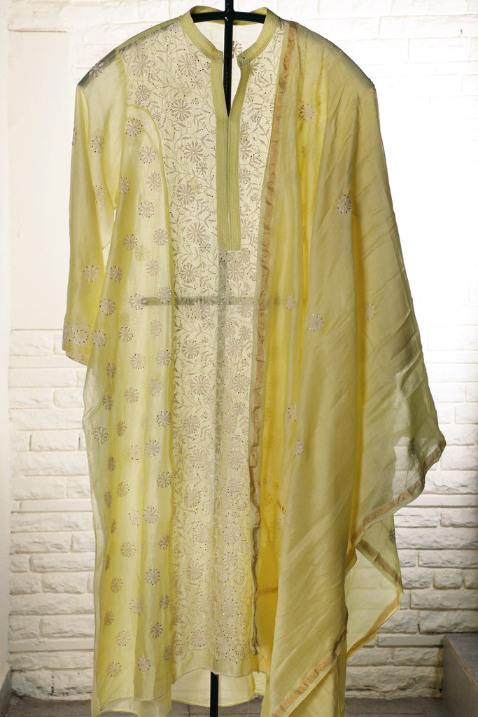Yellow Semi stitched Chanderi Suit - WeaveinIndia