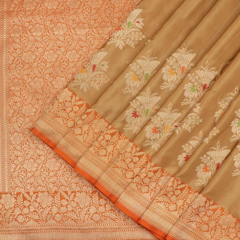Golden Banarasi Silk Saree - WeaveinIndia