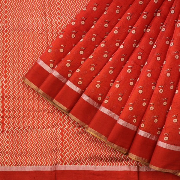 Handwoven Tangerine Orange Printed Silk Cotton Chanderi Sari - WIIAPRI CPSR0005 - Cover View