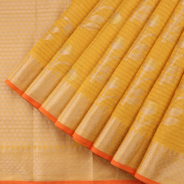 Handwoven Sunshine Yellow Silk Cotton Chanderi Sari - WIISHNIKARIDNAM0101-3 - Cover View