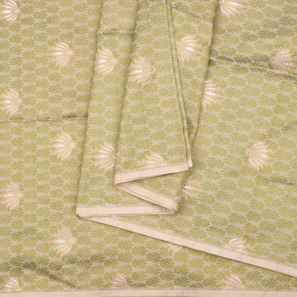 Handwoven Green And Beige Banarasi Butta Work Unstiched Silk Fabric - WIIRJ11276049 - Cover View