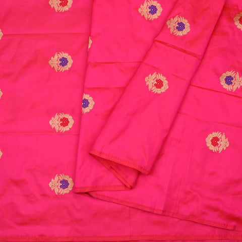 Handwoven Rani Pink Banarasi Silk Unstitched Fabric - WIIAM0089 1 - Cover View