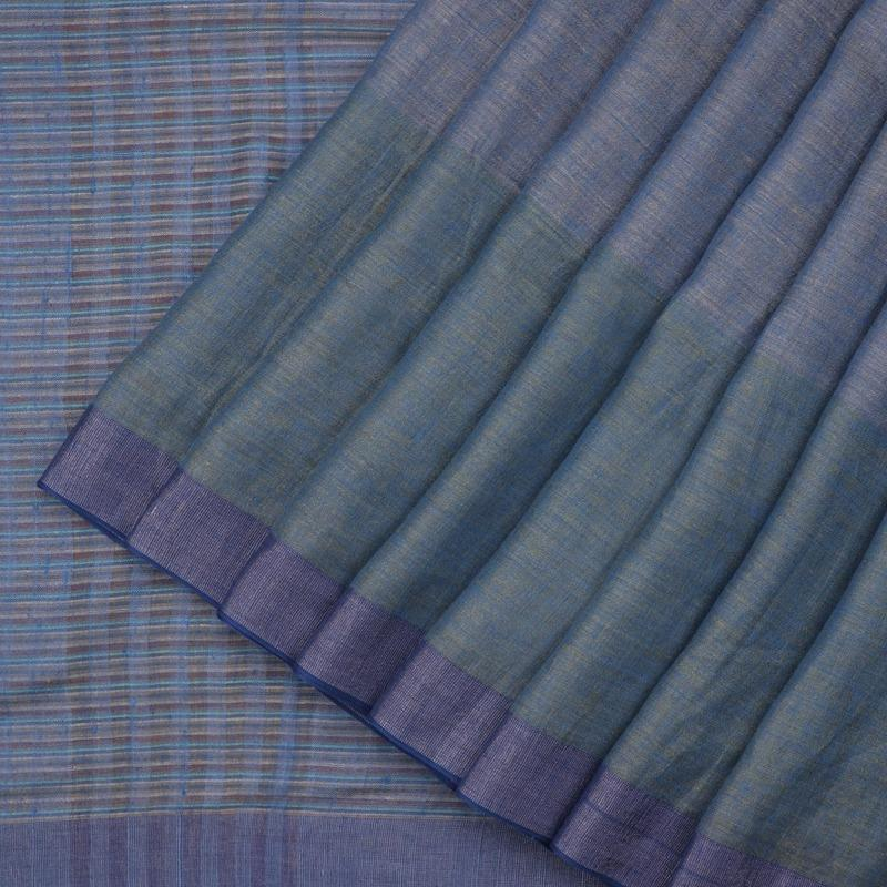HANDWOVEN BLUE LINEN SARI-WIIGS052- Cover View