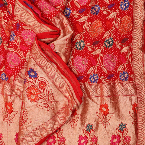 Handwoven Chilli Red Bandhini Silk Georgette Dupatta - PREBDNDUP002