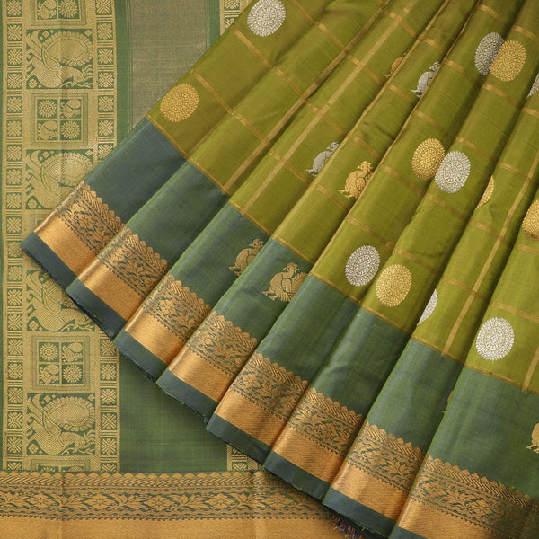 Handwoven Shades of Green Kanjivaram Silk Sari - WIIGS021 - Cover View