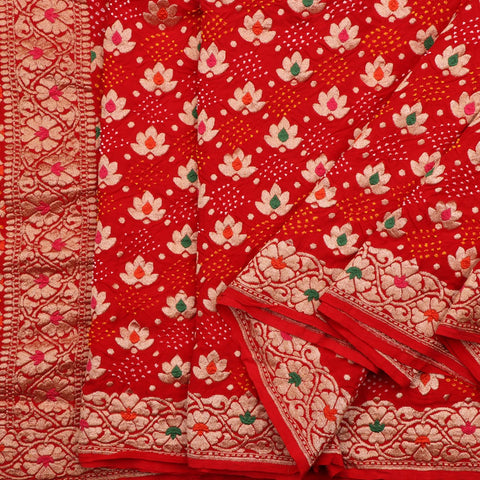 Handwoven Crimson Red Bandhani  Banarasi Georgette Sari - WIIAJB099-1 - Cover View