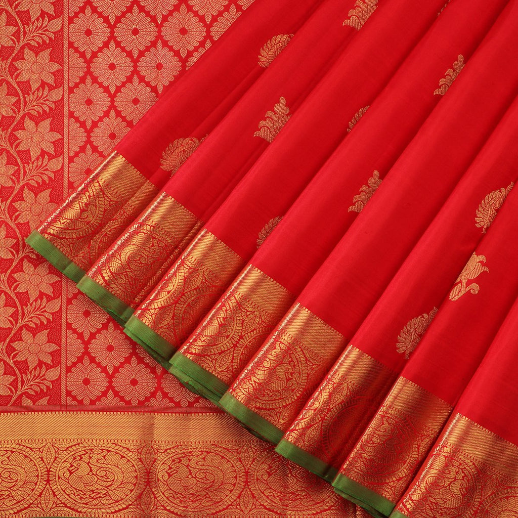 Handwoven Red & Gold Kanjivaram Silk Sari - WIICS020 - Cover View