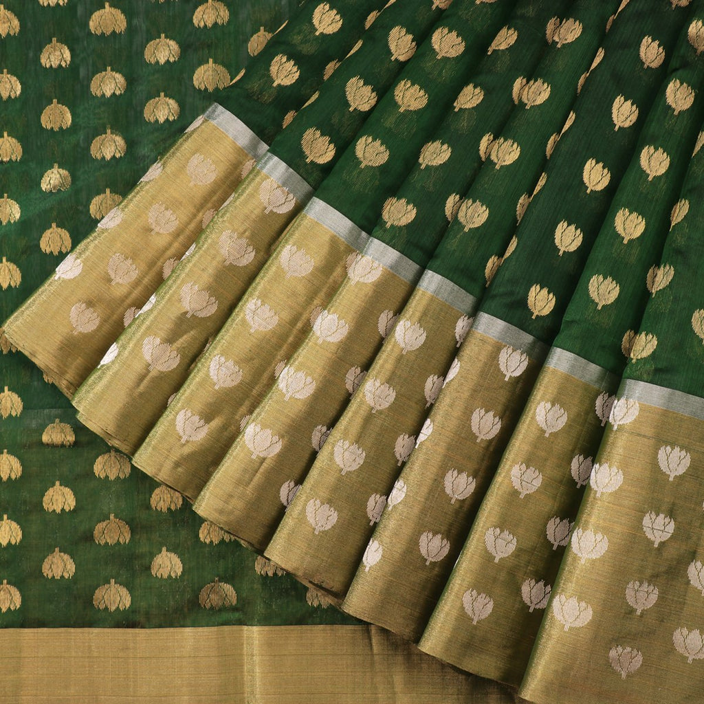 Handwoven Bottle Green Mogra Motif Chanderi Silk Sari - WIIHSBH001C - Cover View