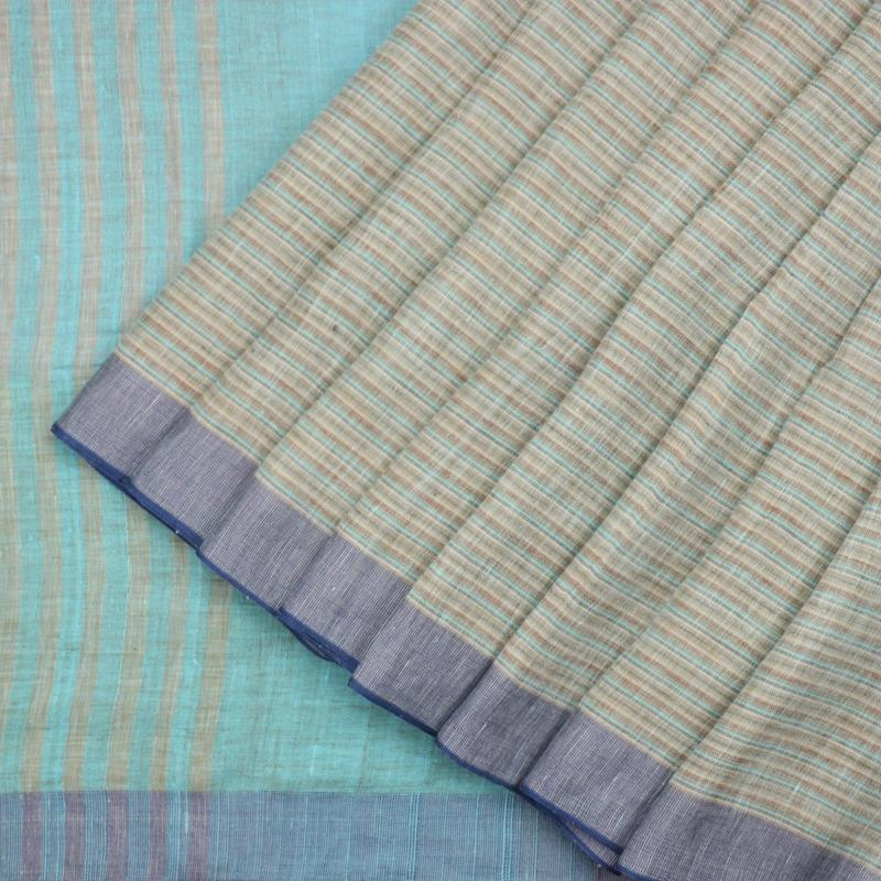 HANDWOVEN SHADES OF BLUE LINEN SARI-WIIGS056 - Cover View