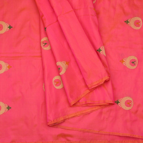 Handwoven Rani Pink Chand Bali Banarasi Silk Unstitched Fabric - WIIAM141 - Cover View