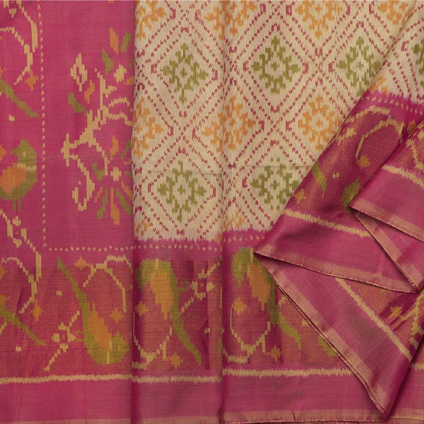 Handwoven Ecru Single Ikat Patola Silk Sari - WIIPATANARIDNAM1101118 - Cover View