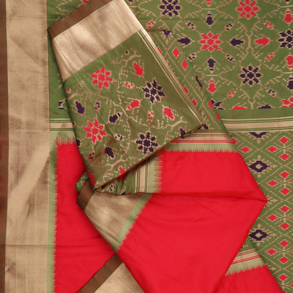 Handwoven Crimson Red Rajkot Single Ikat Dupatta  - WIISHNIKARIDNAM0091 - Fold View