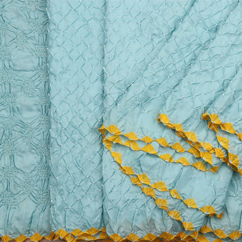 Handwoven Powder Blue Bandhini Habutai Silk Sari - PREBDN001- Cover View