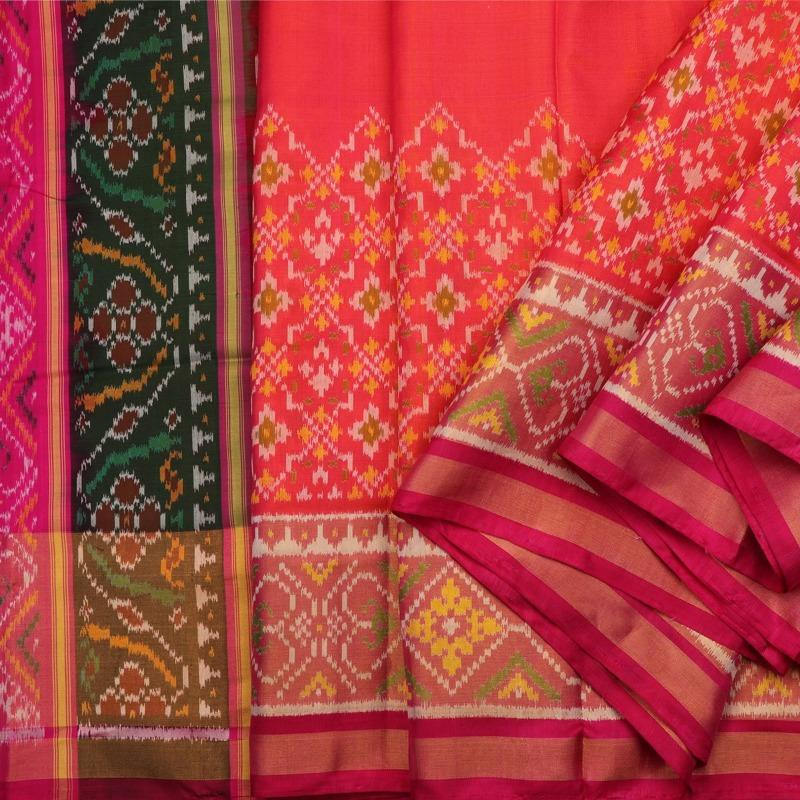Handwoven Coral Pink Patola Double Ikat Silk Sari - WIIPATANARIDNAM2980219A - Cover View