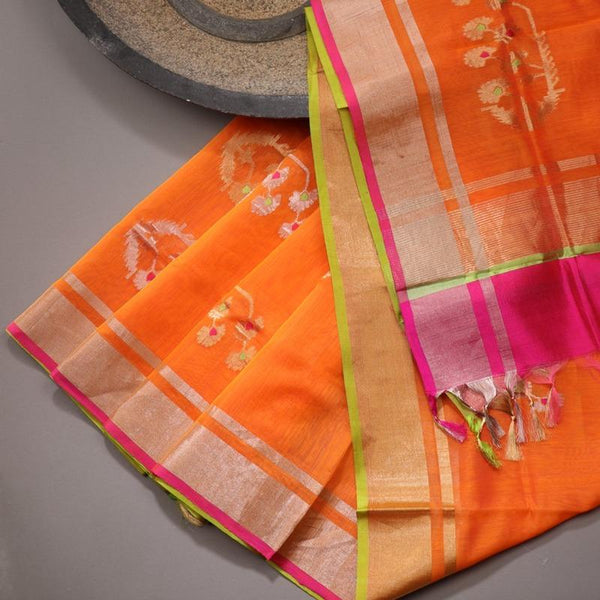 Handwoven Bright Orange Silk Cotton Chanderi Dupatta - WIIAPRI CWMD 6 - Design View