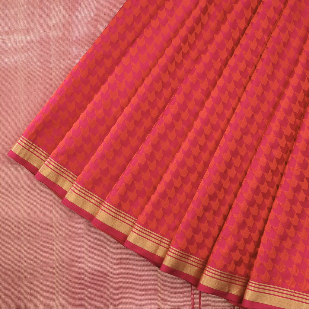 Handwoven Pink Red Banarasi Silk Sari - WIIBT0098 - Cover View