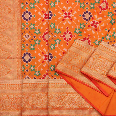 Handwoven Sunset Orange Banarasi Patola Silk Sari - WIISHINKARIDNAM0068