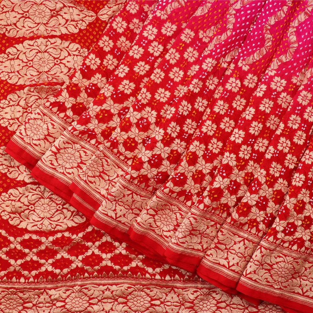 Handwoven Rani Pink And Chilli Red Silk Georgette Banarasi Bandhani  Sari - WIIAJB257 116(3) - Cover View
