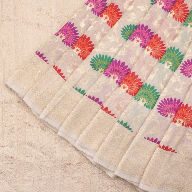 Handwoven Off White Banarasi Georgette Silk Sari - WIISHNIKARIDNAM0110 - Cover View