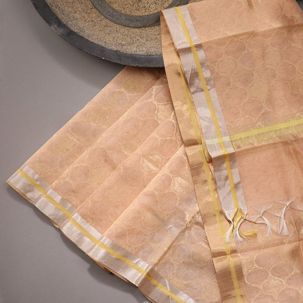 Handwoven Peach Silk Cotton Chanderi Dupatta - WIIAPRI CFJD 001 - Design View