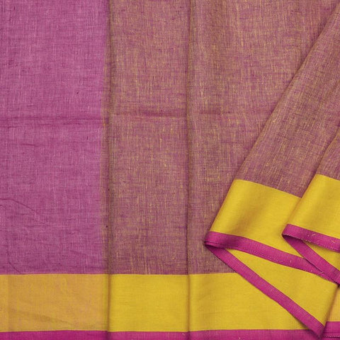 Handwoven Linen Mulberry Pink Sari - WIISK0051(7) - Cover View