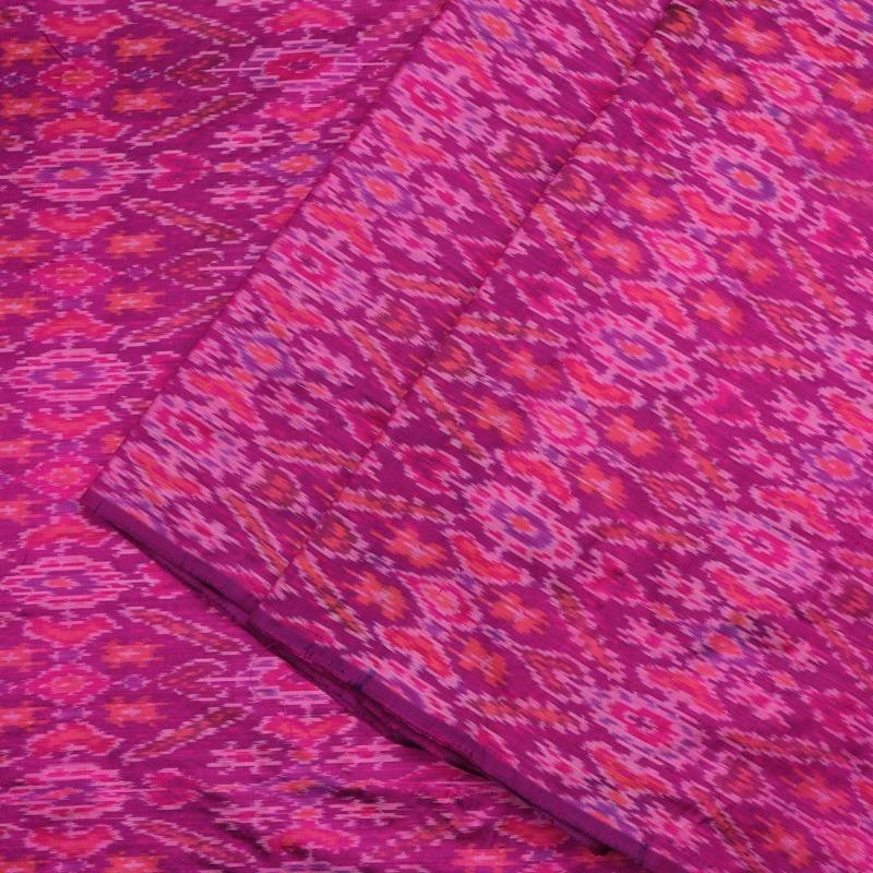 Handwoven Magenta Single Ikat Silk Unstitched Fabric-WIIGS064- Cover View