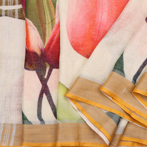 Handwoven Offwhite Tulip Printed Linen Sari - WIIATY020 - Cover View
