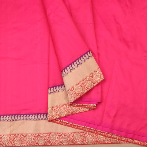 Handwoven Rani Pink Banarasi Border Unstitched Silk Fabric - WIIRJ11271012 - Cover View