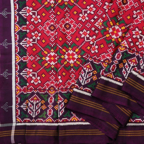 Handwoven Aubergine Purple and Cherry Red Navaratna Patan Patola Ikat Sari - WIITNKP005  - Cover View