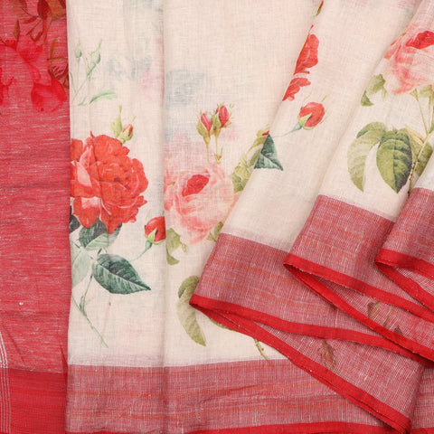 Handwoven Cream And Red Printed Linen Sari - WIIATY014